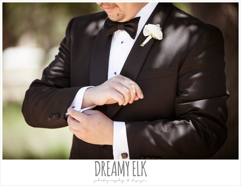 groom wearing tuxedo, la hacienda, dripping springs, texas {dreamy elk photography and design} photo