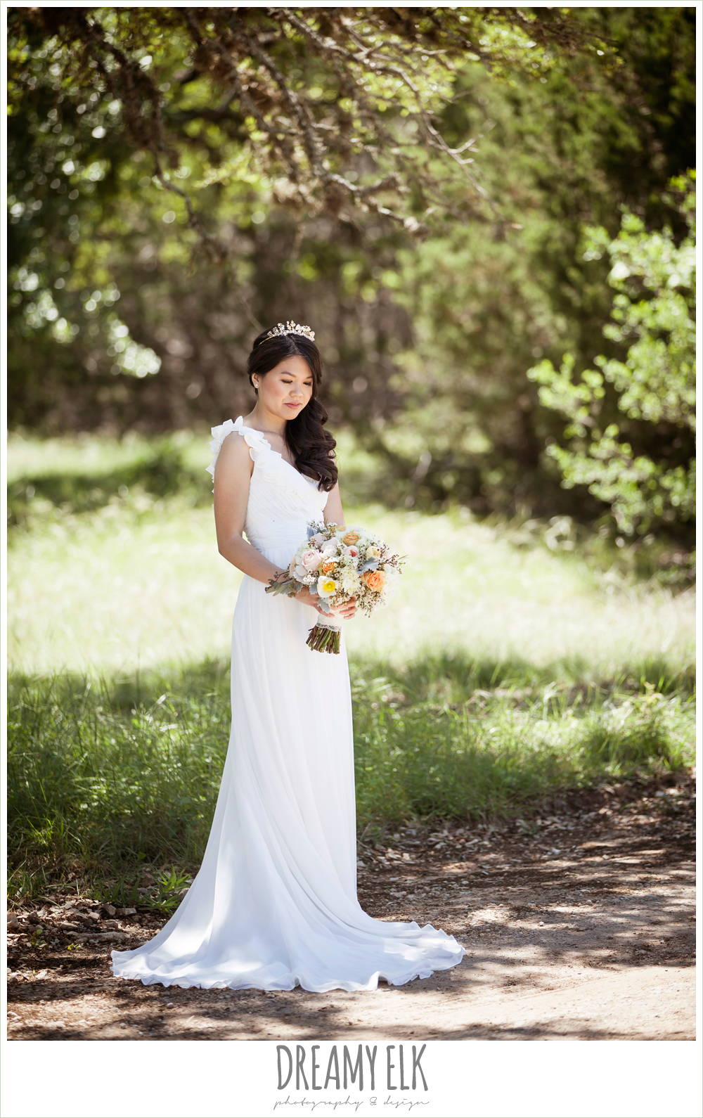 chiffon wedding dress with ruffle sleeve, wedding hair side swept, pink orange and yellow bouquet, la hacienda, dripping springs, texas {dreamy elk photography and design} photo