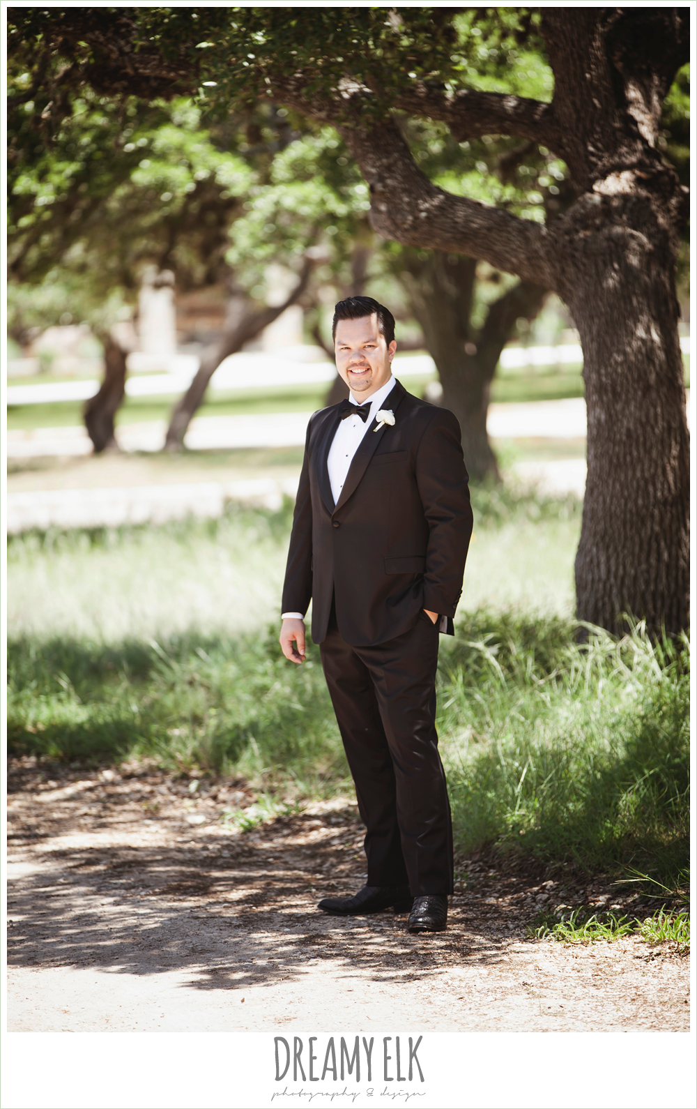 groom in tuxedo, la hacienda, dripping springs, texas {dreamy elk photography and design} photo