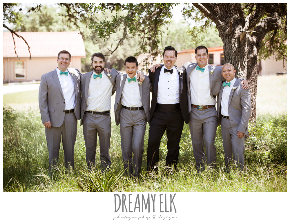 groom and groomsmen, groom in tuxedo, groomsmen in gray suits, la hacienda, dripping springs, texas {dreamy elk photography and design} photo