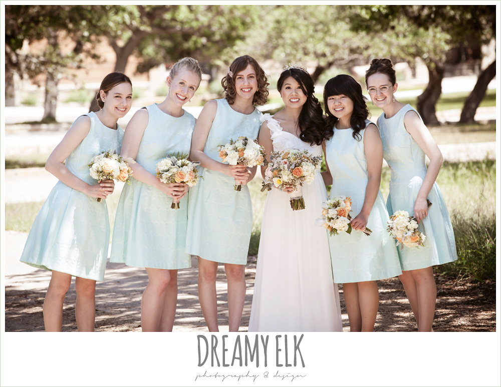 bride and bridesmaids, mint bridesmaids dresses, chiffon wedding dress with ruffle sleeve, wedding hair side swept, pink orange and yellow bouquet, wild bunches florist, la hacienda, dripping springs, texas {dreamy elk photography and design} photo
