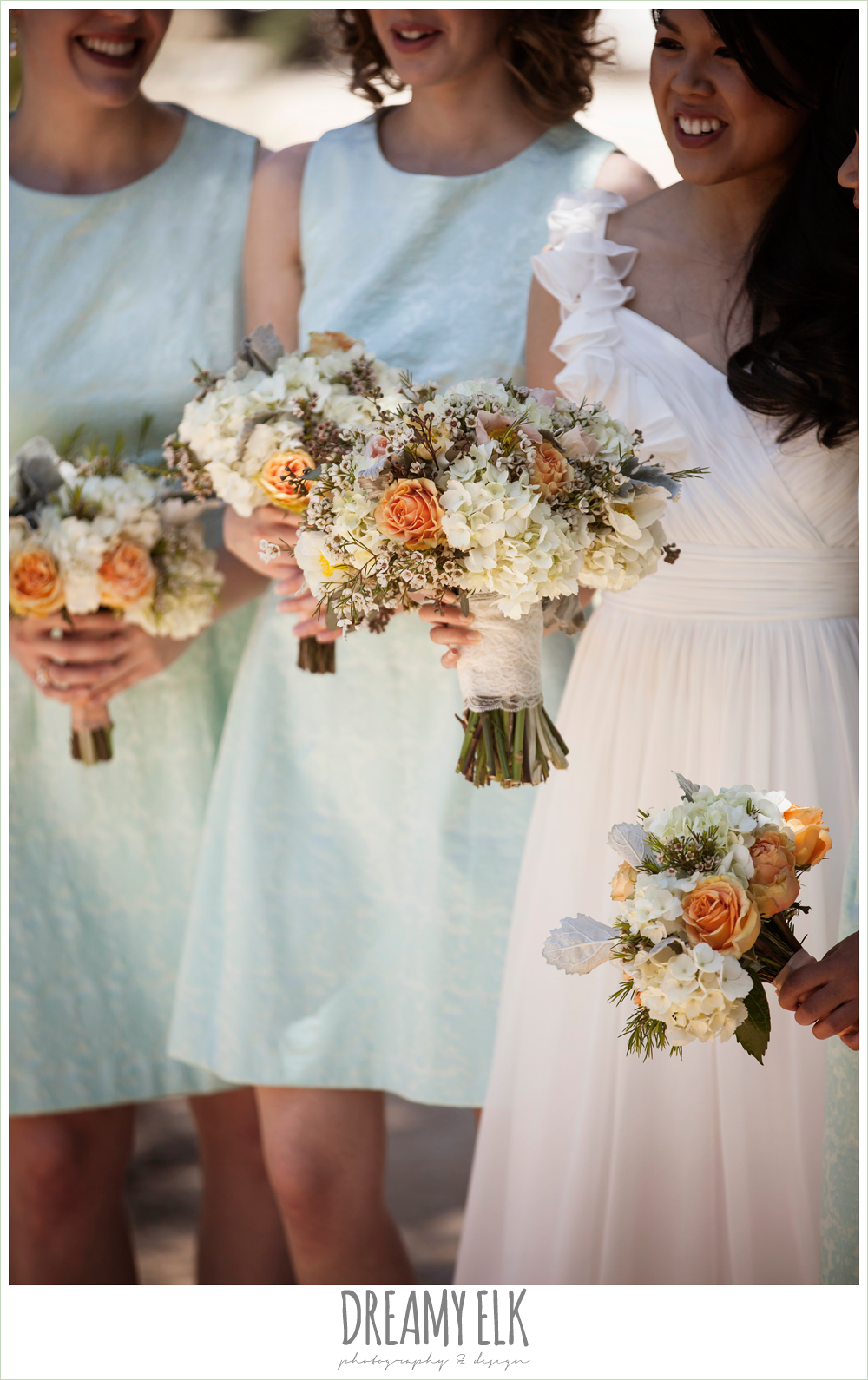 mint bridesmaids dresses, pink orange and yellow bouquet, wild bunches florist, fringe events and design, la hacienda, dripping springs, texas {dreamy elk photography and design} photo