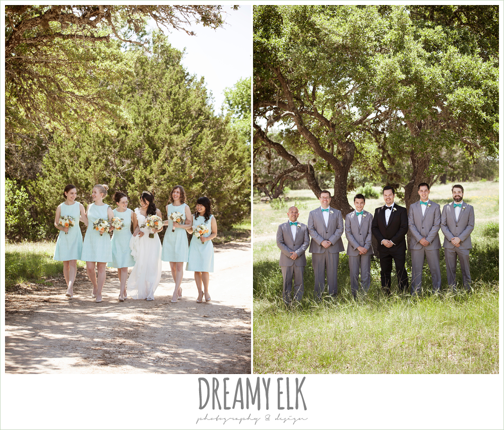 mint bridesmaids dresses, groom in tuxedo, groomsmen in gray suits, pink orange and yellow bouquet, wild bunches florist, la hacienda, dripping springs, texas {dreamy elk photography and design}