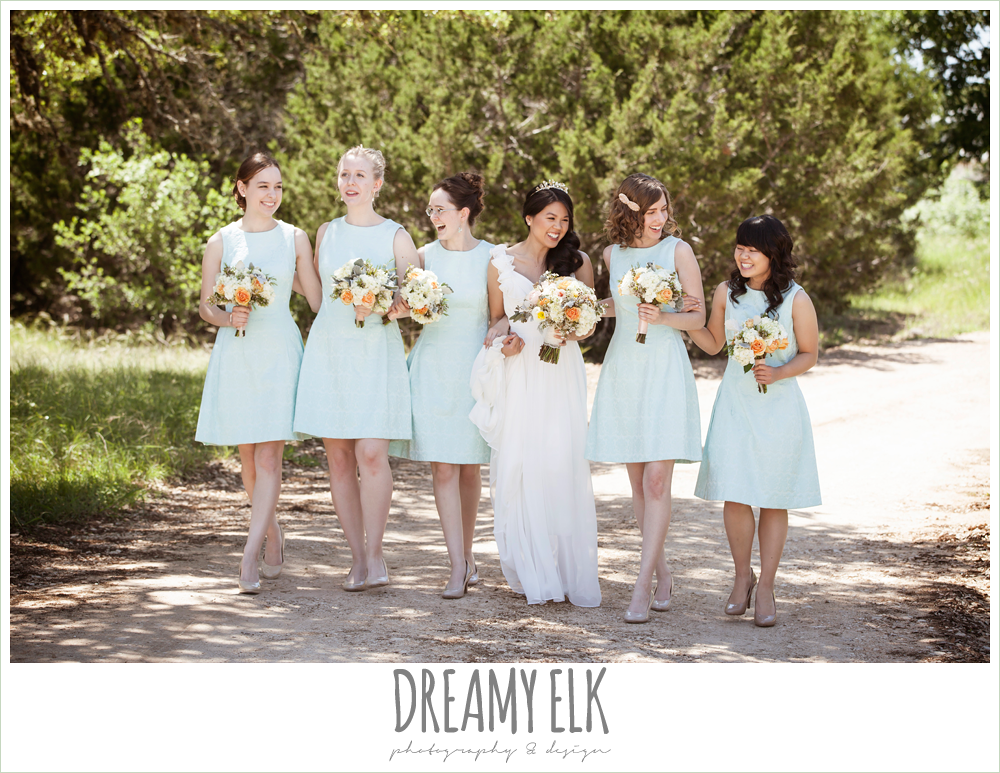 bride and bridesmaids walking, mint bridesmaids dresses, chiffon wedding dress with ruffle sleeve, wedding hair side swept, pink orange and yellow bouquet, wild bunches florist, la hacienda, dripping springs, texas {dreamy elk photography and design} photo