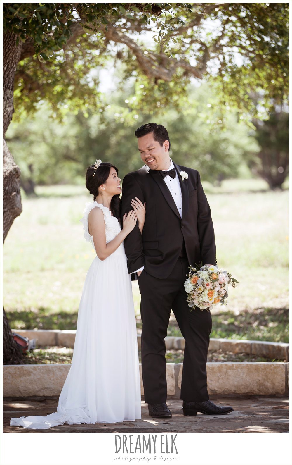 bride and groom, chiffon wedding dress with ruffle sleeve, wedding hair side swept, pink orange and yellow bouquet, wild bunches florist, la hacienda, dripping springs, texas {dreamy elk photography and design} photo