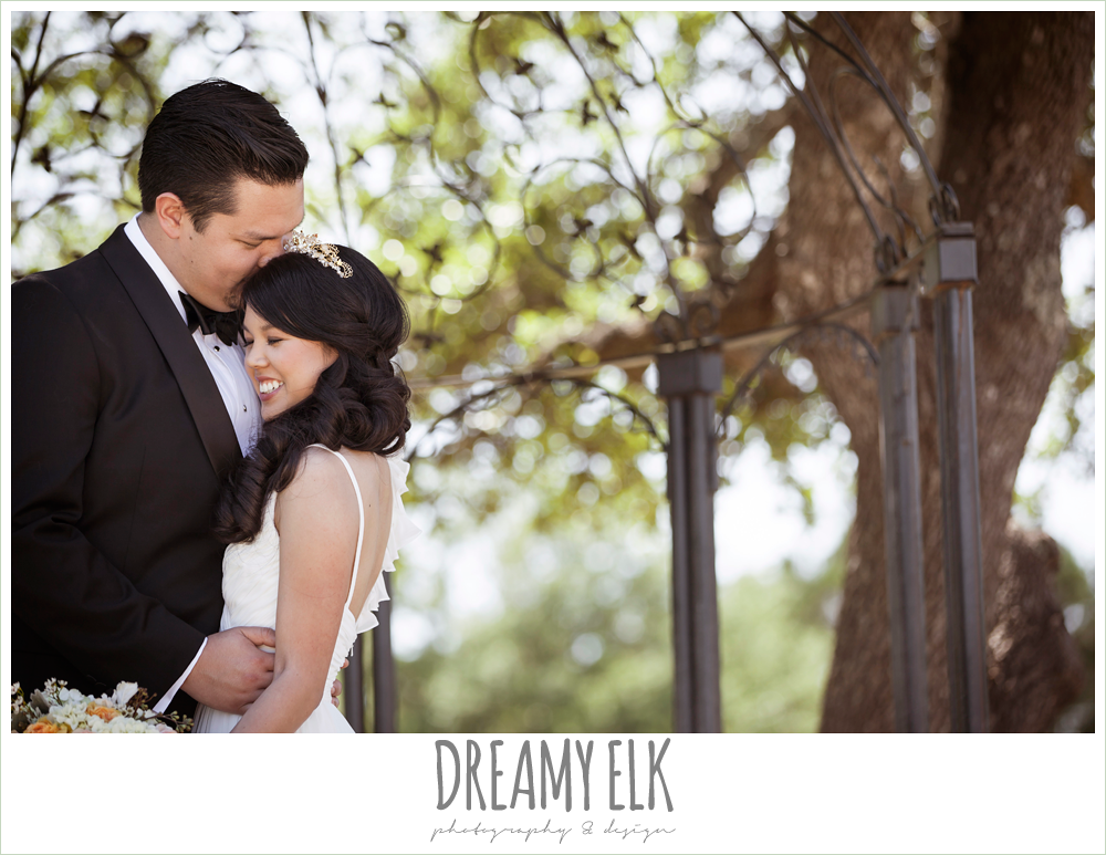 bride and groom, chiffon wedding dress with ruffle sleeve, wedding hair side swept, la hacienda, dripping springs, texas {dreamy elk photography and design} photo