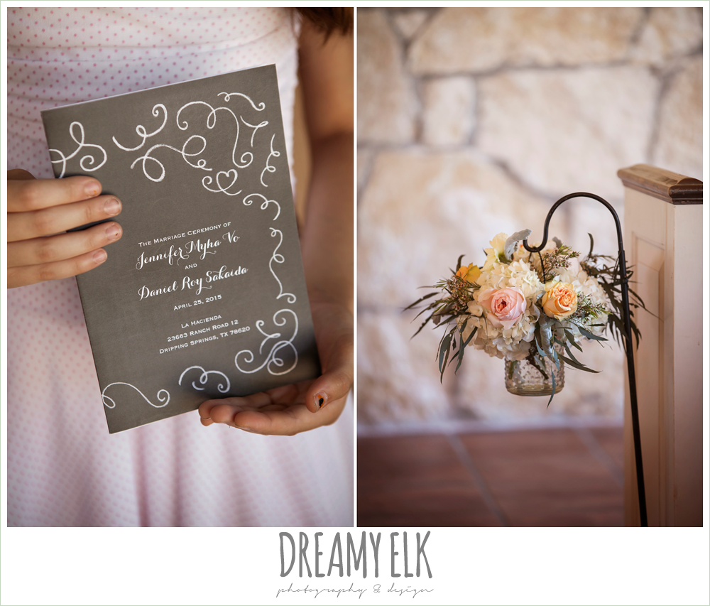 wedding program, ceremony aisle flowers, fringe events and design, la hacienda, dripping springs, texas {dreamy elk photography and design} photo
