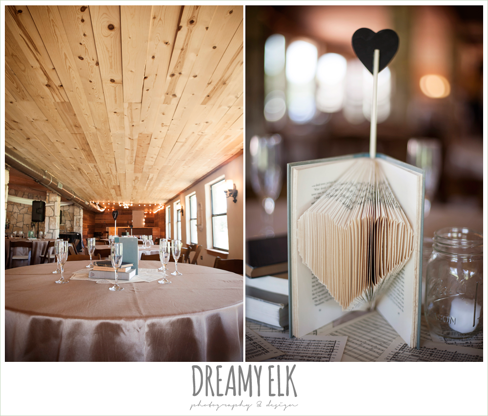 music and book themed wedding decorations, fringe events and design, la hacienda, dripping springs, texas {dreamy elk photography and design} photo