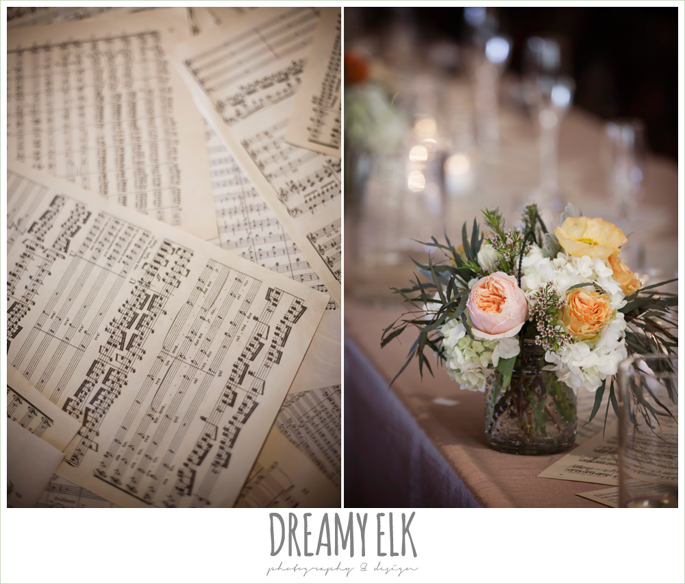 music themed wedding decorations, fringe events and design, sheet music table runner, la hacienda, dripping springs, texas {dreamy elk photography and design} photo