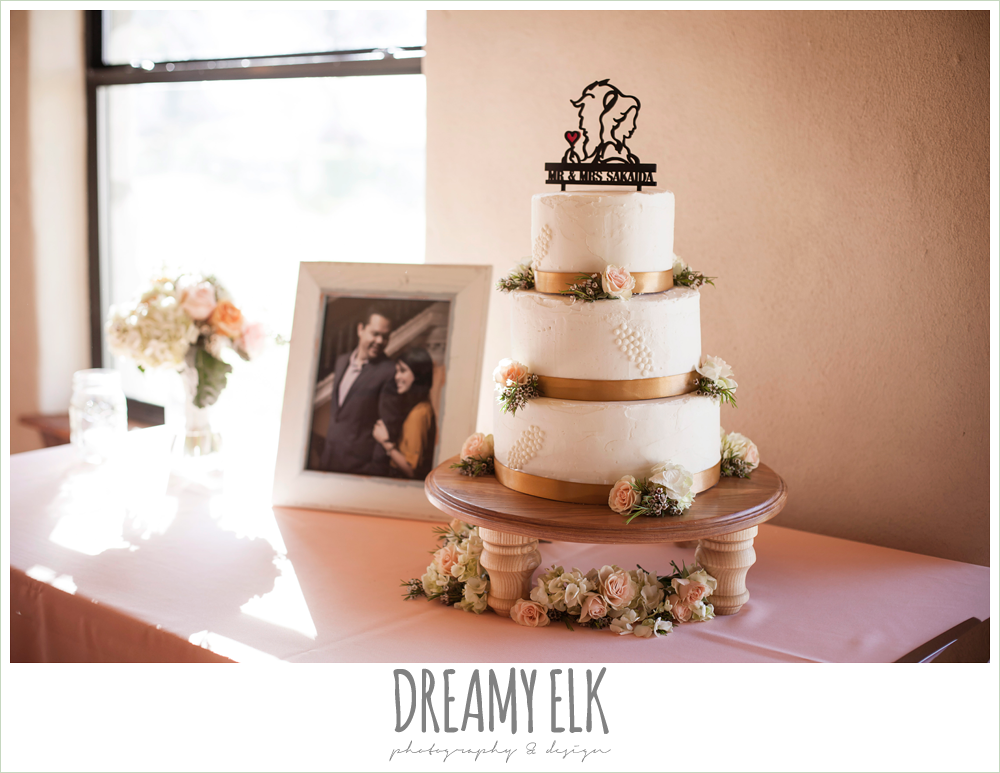 joyful vagabond bakery, white three tier wedding cake, beauty and the beast cake topper, fringe events and design, la hacienda, dripping springs, texas {dreamy elk photography and design} photo