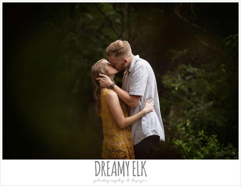 couple kissing, overcast engagement photo, walnut creek park, austin, texas {dreamy elk photography and design}
