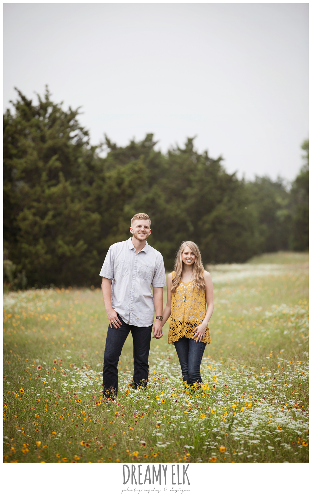 field of wild flowers, overcast engagement photo, walnut creek park, austin, texas {dreamy elk photography and design}