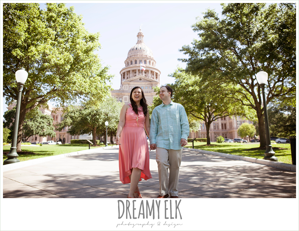 outdoor morning engagement photo, texas state capitol building, austin, texas {dreamy elk photography and design}