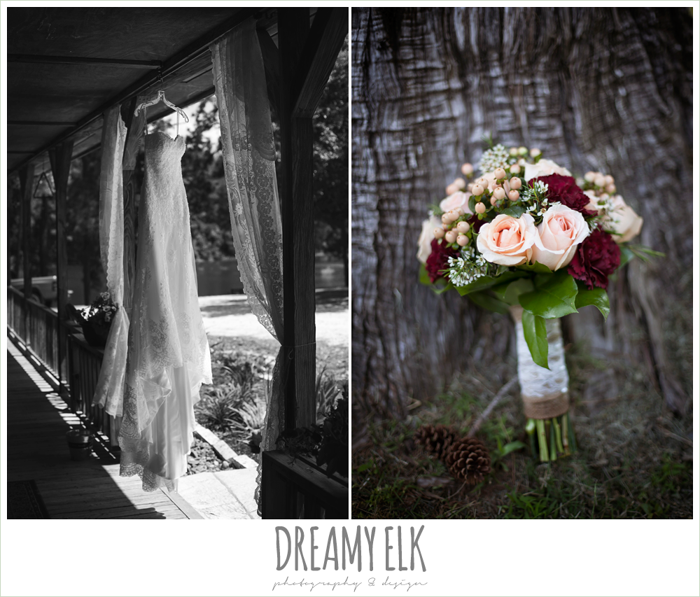wedding dress hanging in doorway, e johnston designs, rustic wedding bouquet, pine lake ranch, photo {dreamy elk photography and design}