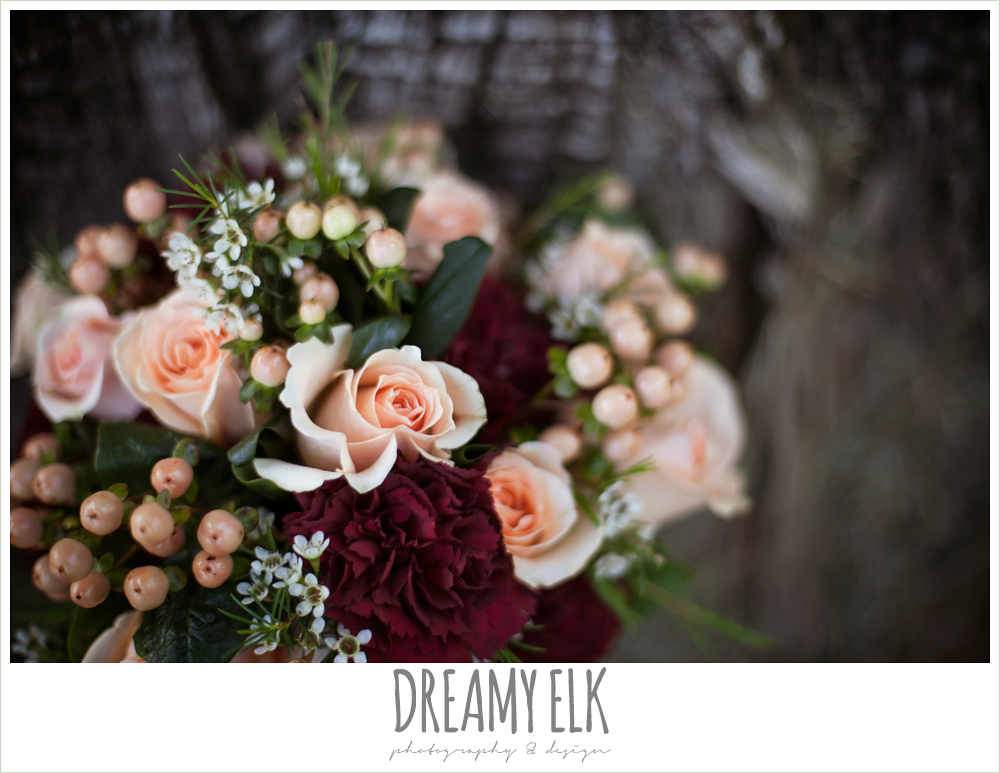peach and red wedding bouquet with berries, e johnston designs, pine lake ranch, photo {dreamy elk photography and design}
