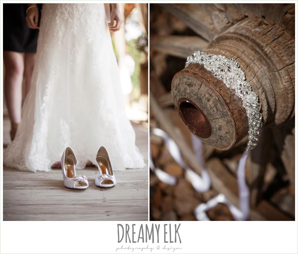 wedding shoes, rhinestone wedding belt on wagon wheel, rustic wedding, pine lake ranch, photo {dreamy elk photography and design}