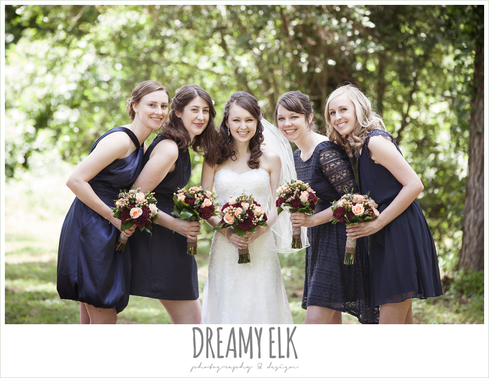 mix and match navy bridesmaids dresses, peach and red wedding bouquet, e johnston designs, strapless lace wedding dress, pine lake ranch, photo {dreamy elk photography and design}