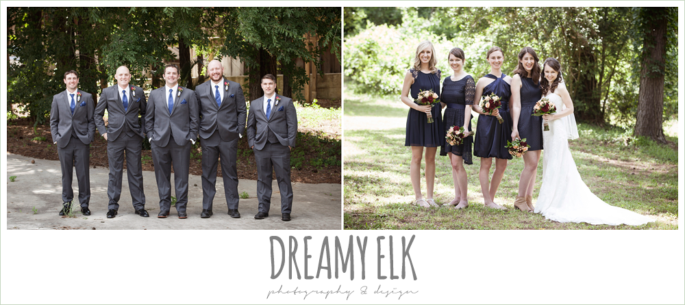 mix and matched navy bridesmaids dresses, gray suits with navy ties, pine lake ranch, photo {dreamy elk photography and design}