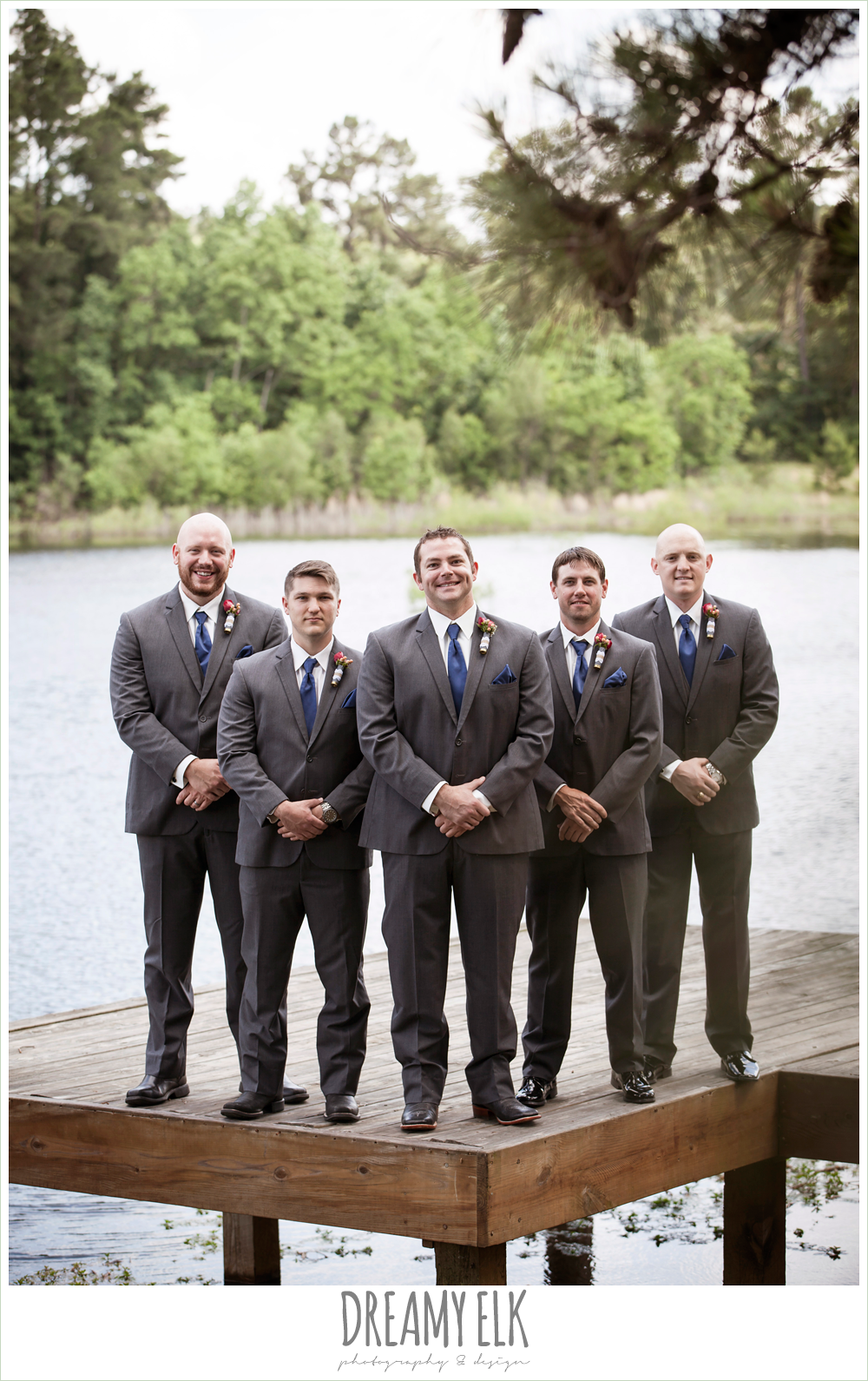 groom and groomsmen on a dock, gray suits and navy ties, pine lake ranch, photo {dreamy elk photography and design}