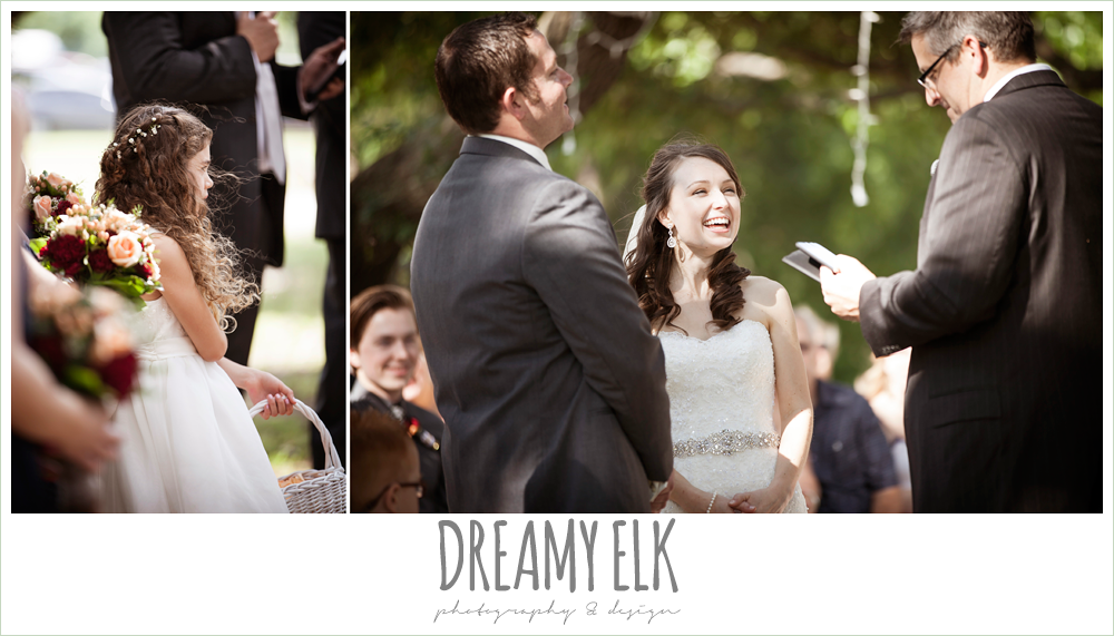 bride laughing during wedding ceremony, pine lake ranch, photo {dreamy elk photography and design}