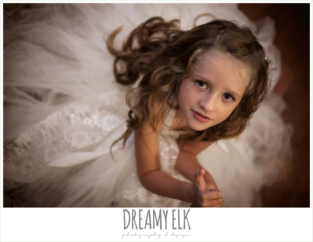 flower girl white and gold tulle dress, northeast wedding chapel, photo {dreamy elk photography and design}
