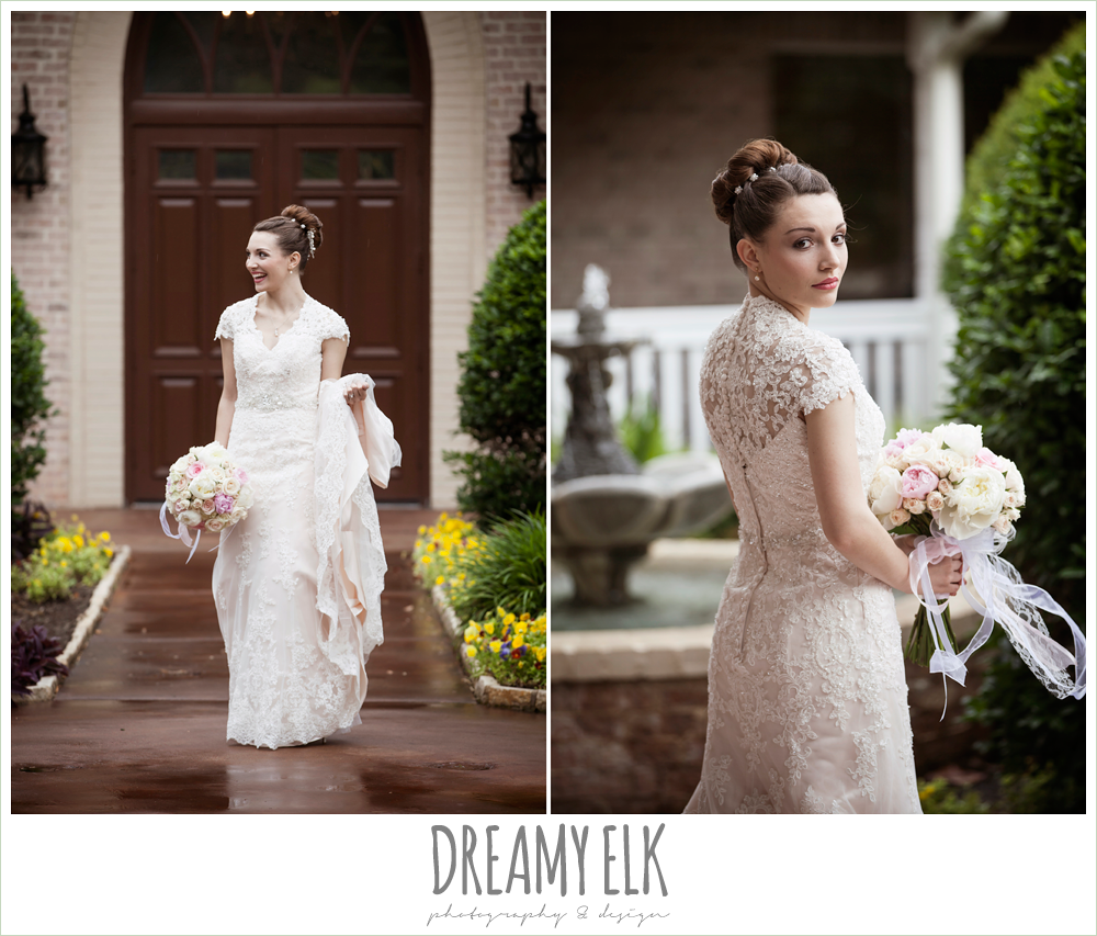 wedding hair updo bun, blush pink wedding dress, northeast wedding chapel, rainy wedding day photo {dreamy elk photography and design}