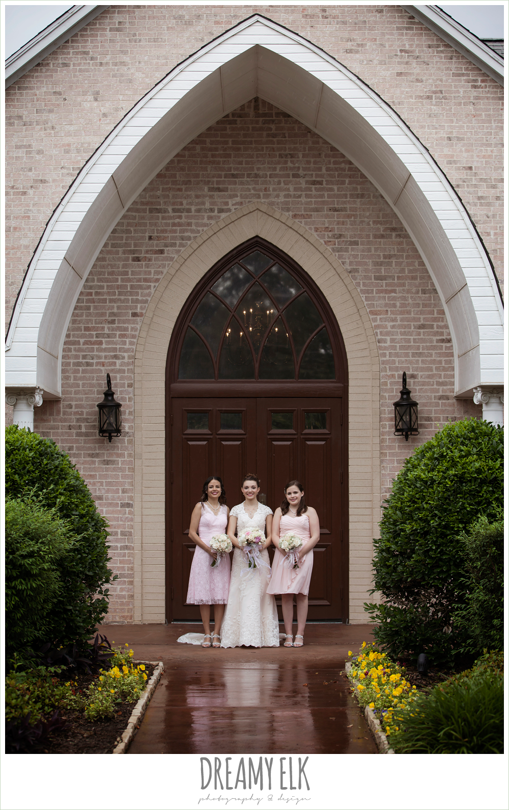blush pink wedding dress, pink bridesmaids dresses, northeast wedding chapel, rainy wedding day photo {dreamy elk photography and design}