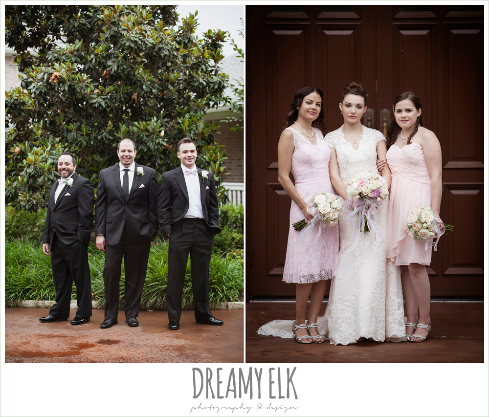 blush pink wedding dress, pink bridesmaids dresses, blush wedding bouquet with ribbon, black suits with pink bow ties, northeast wedding chapel, rainy wedding day photo {dreamy elk photography and design}