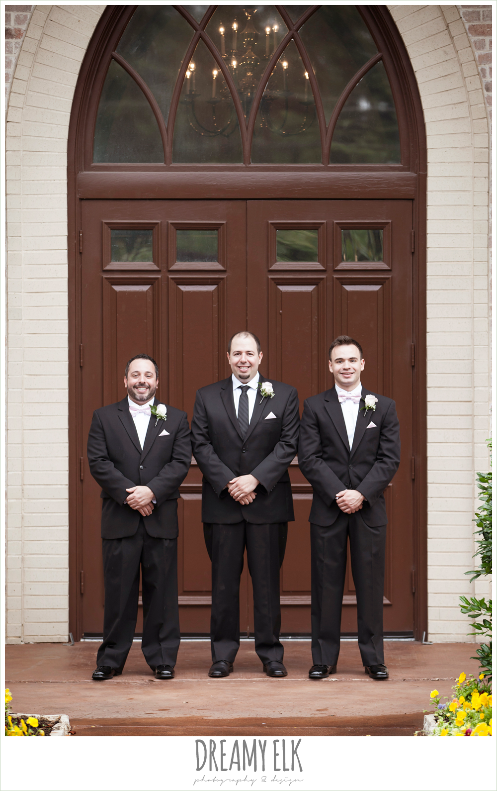 groom and groomsmen wearing black suits with pink bow ties, northeast wedding chapel, rainy wedding day photo {dreamy elk photography and design}