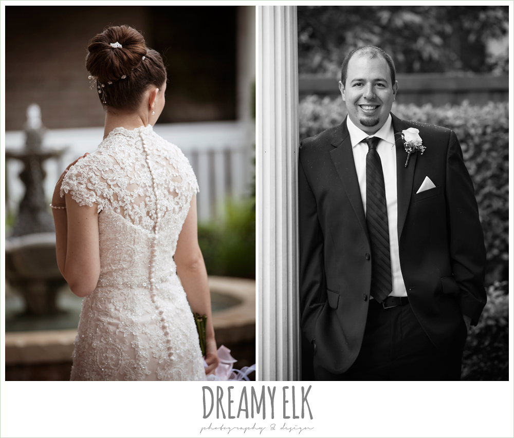 wedding hair updo bun, blush pink wedding dress, black suit with pink boutonniere, northeast wedding chapel, rainy wedding day photo {dreamy elk photography and design}