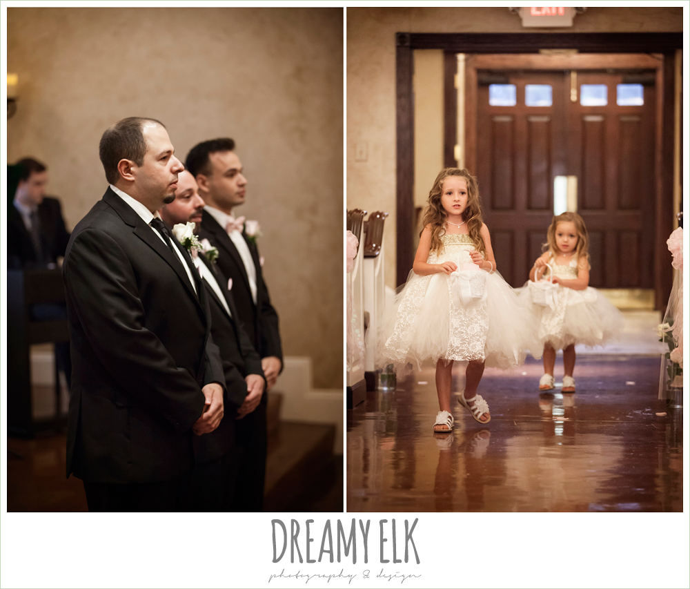 flower girls walking down the aisle, northeast wedding chapel ceremony photo {dreamy elk photography and design}