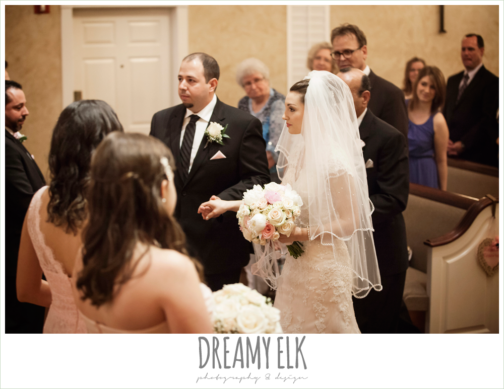 bride walking down the aisle, northeast wedding chapel ceremony photo {dreamy elk photography and design}