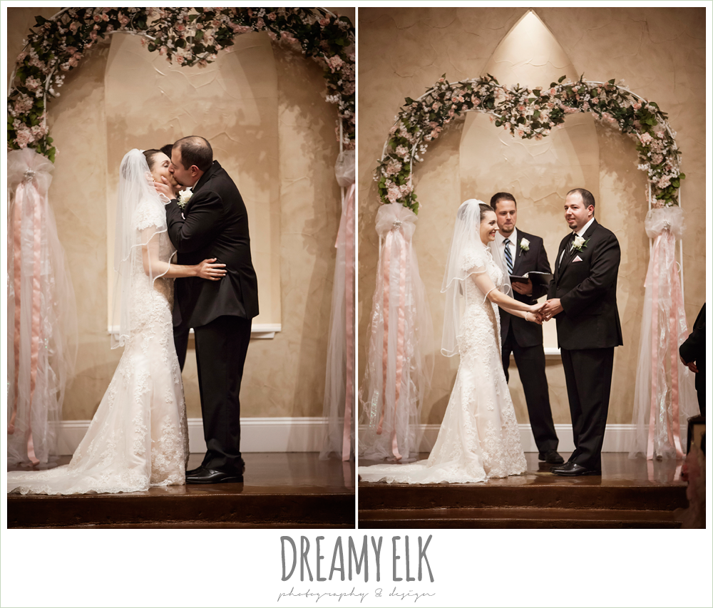 bride and groom kissing during ceremony, northeast wedding chapel ceremony photo {dreamy elk photography and design}