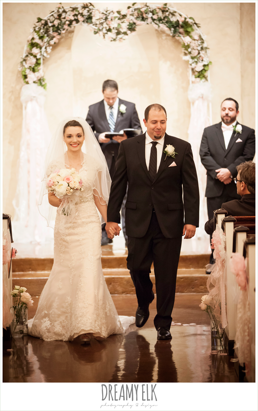 bride and groom walking down the aisle, northeast wedding chapel ceremony photo {dreamy elk photography and design}