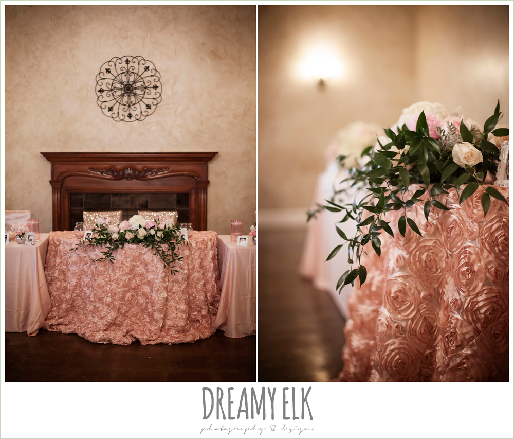 blush pink rose tablecloth, cascading blush table floral arrangement, northeast wedding chapel, rainy wedding day photo {dreamy elk photography and design}