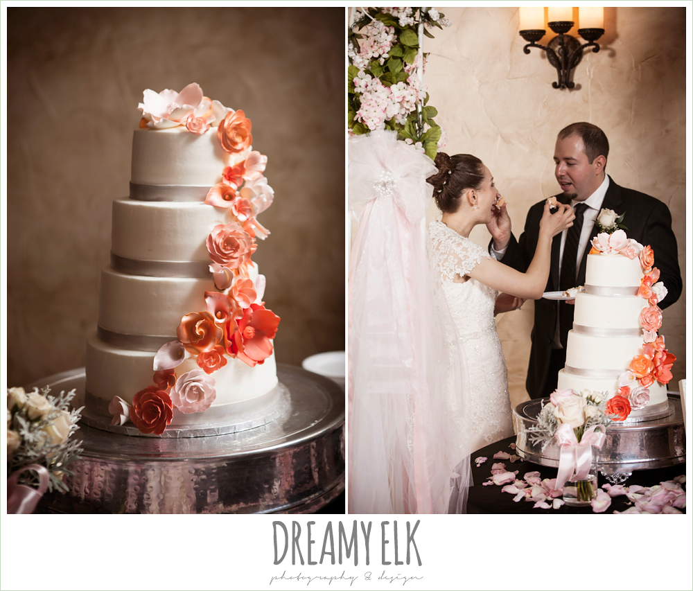 four tier wedding cake, northeast wedding chapel, rainy wedding day photo {dreamy elk photography and design}