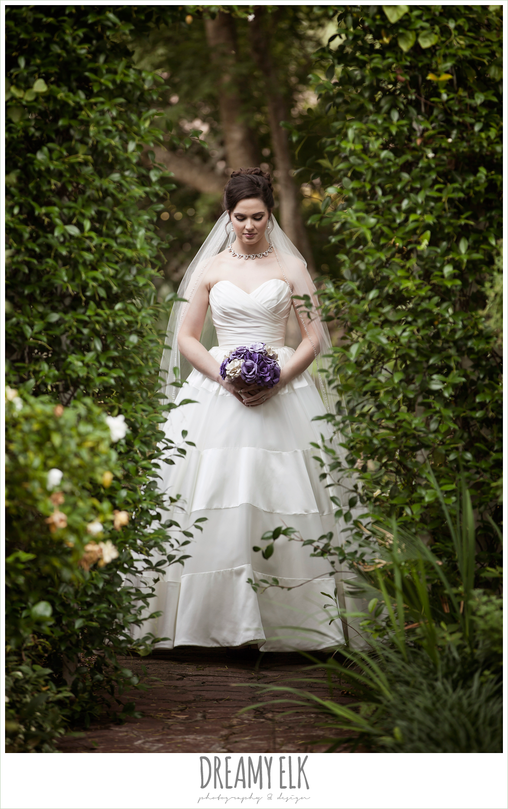 paper flower purple wedding bouquet, ball gown satin wedding dress, outdoor bridal portrait in garden, heather's glen {dreamy elk photography and design}