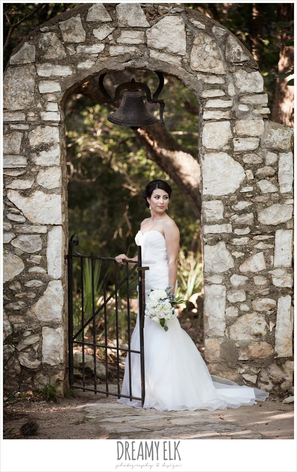 stone archway, strapless wedding dress, summer bridal photo, mayfield park, austin, texas {dreamy elk photography and design}