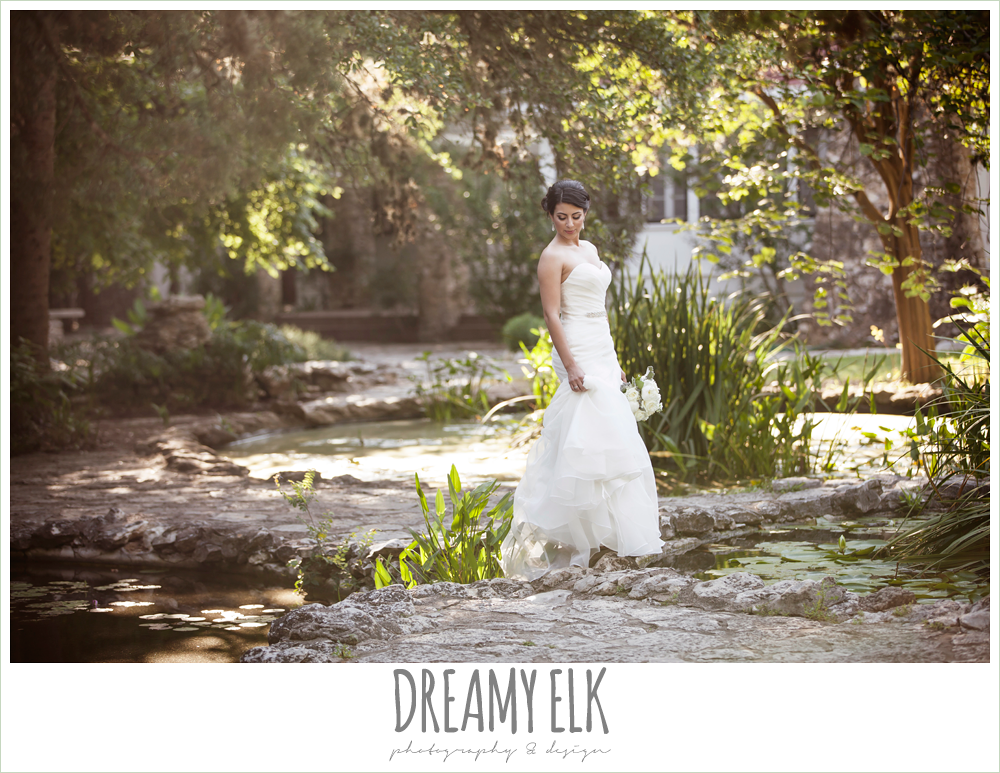 strapless wedding dress, summer bridal photo, mayfield park, austin, texas {dreamy elk photography and design}