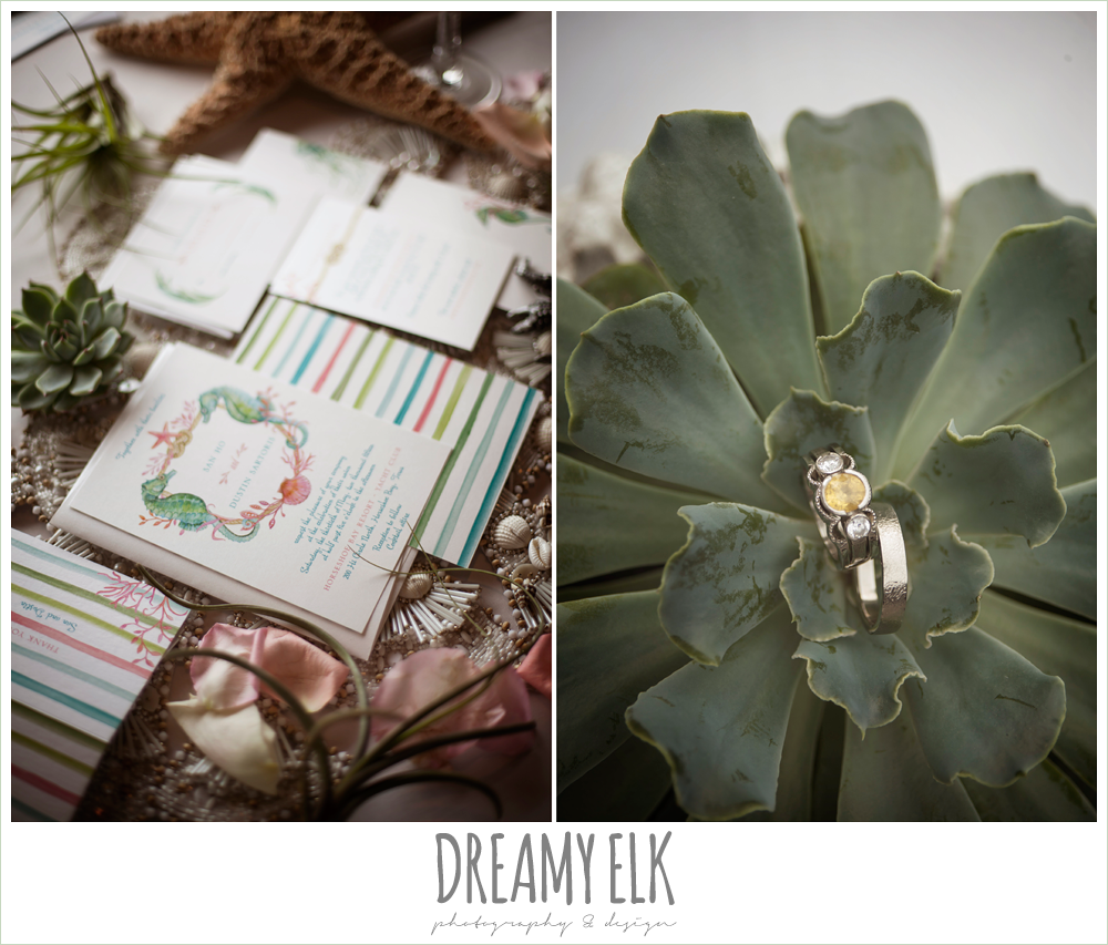 yellow diamond engagement ring, succulents, nautical inspired wedding invitation suite, nautical theme wedding, horseshoe bay resort, photo {dreamy elk photography and design}