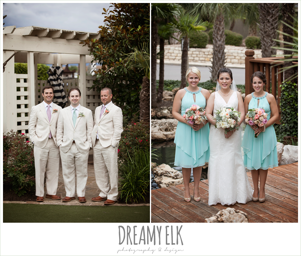 groom and groomsmen in linen suits, bride and bridesmaids, lace two shouldered wedding dress, aqua bridesmaid dress, pink coral and succulent wedding bouquet, magpie blossom boutique, nautical themed wedding, horseshoe bay resort photo {dreamy elk photography and design}