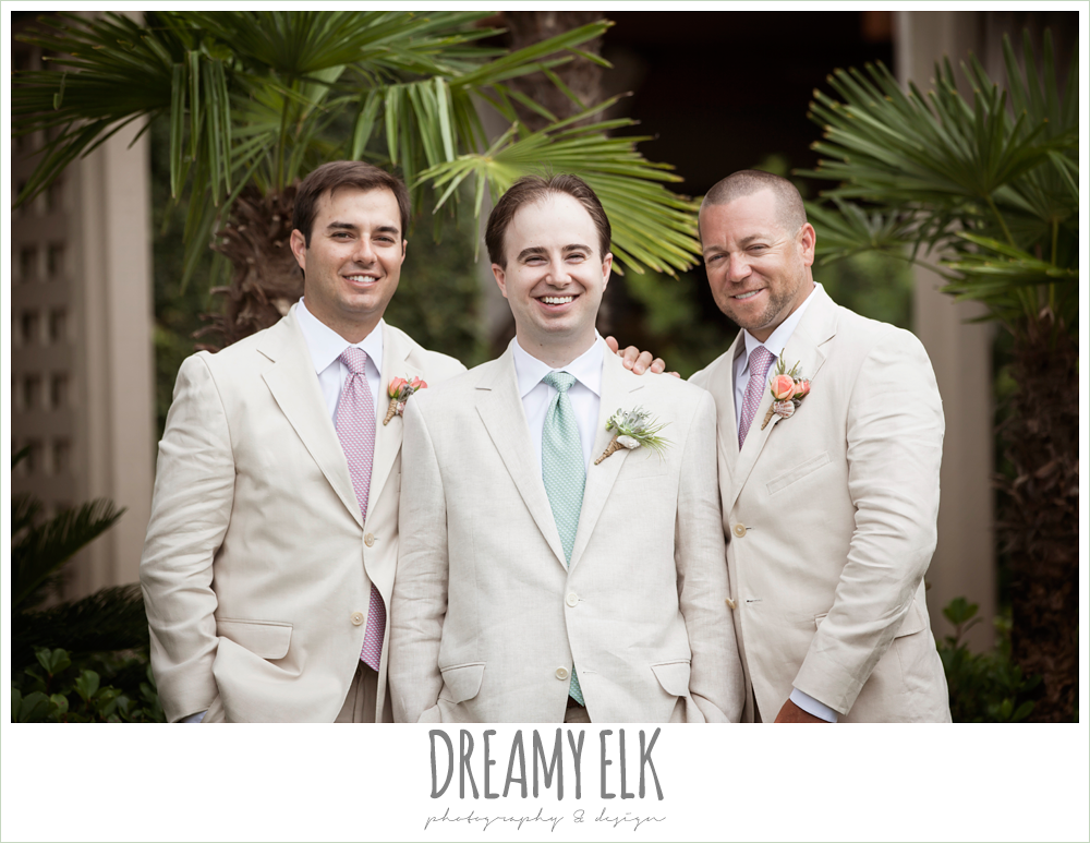 groom and groomsmen in linen suits, nautical themed wedding, horseshoe bay resort, frills consulting photo {dreamy elk photography and design}