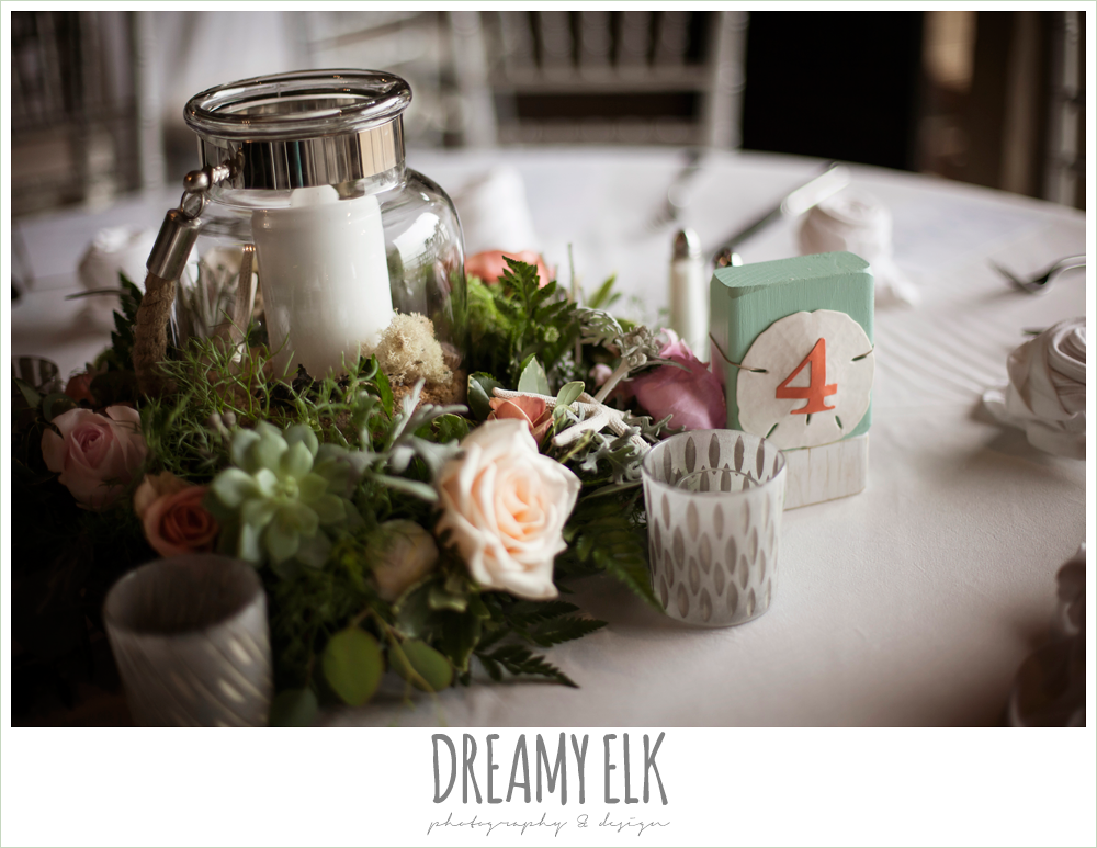 indoor wedding reception, unique guest sign in table, table floral centerpieces, table numbers, magpie blossom boutique, nautical themed wedding, horseshoe bay resort, frills consulting photo {dreamy elk photography and design}