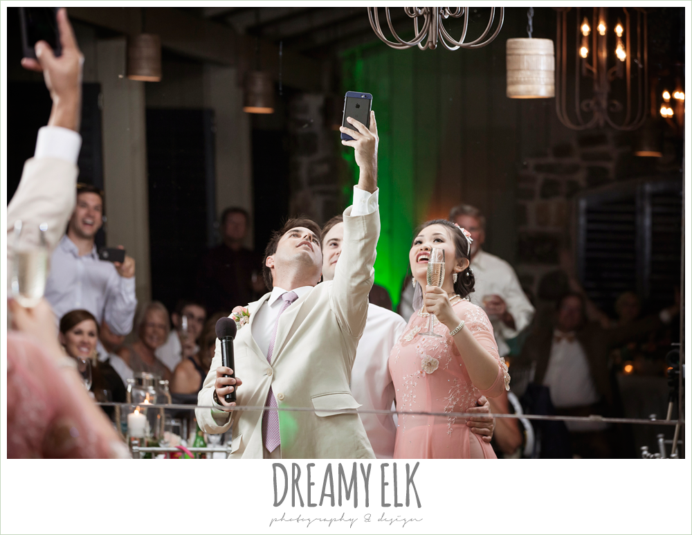 funny wedding photo, best man taking selfie during toasts, indoor wedding reception, nautical themed wedding, horseshoe bay resort, frills consulting photo {dreamy elk photography and design}