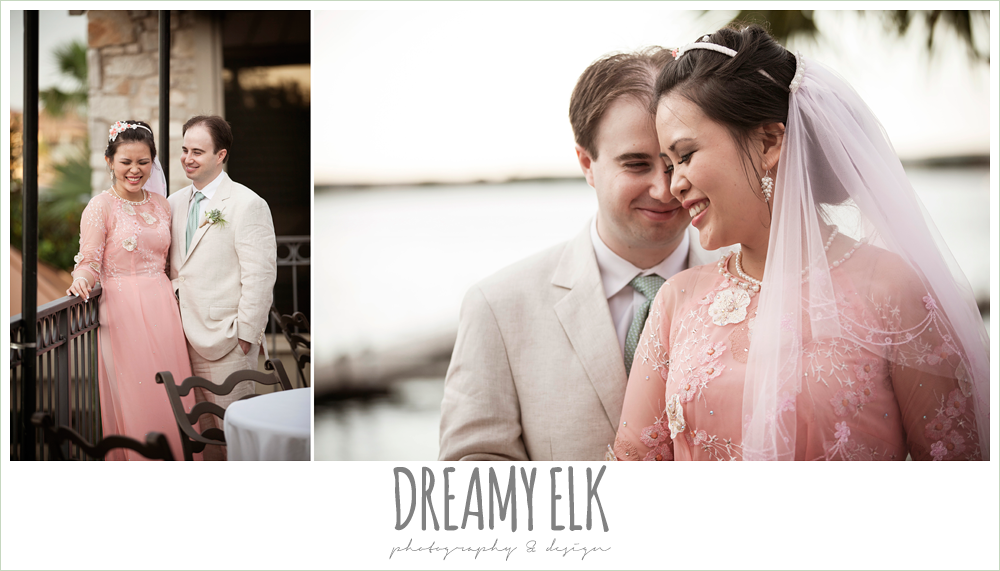 sunset bride and groom portraits, traditional vietnamese wedding dress, linen suit, nautical themed wedding, horseshoe bay resort, frills consulting photo {dreamy elk photography and design}
