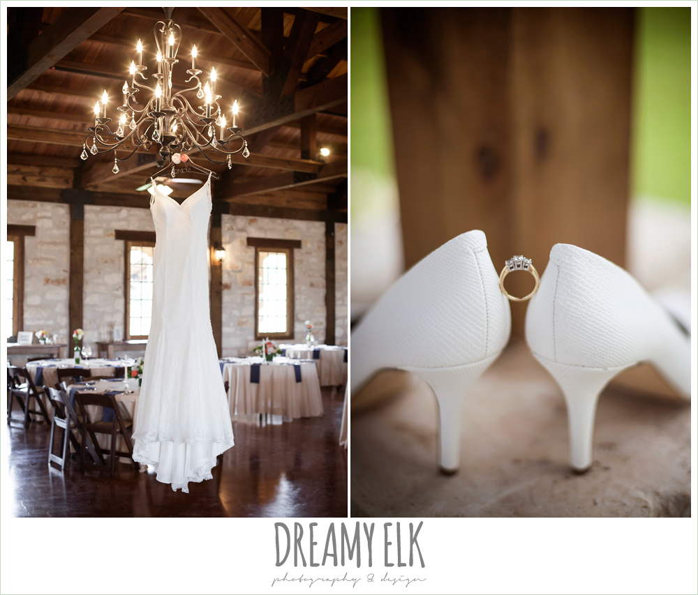 wedding dress hanging on chandelier, white wedding shoes, pecan springs, houston, texas, photo {dreamy elk photography and design}