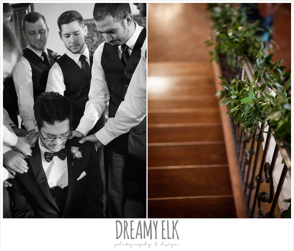 groomsmen praying over groom, greenery garland on stair rails, pecan springs, houston, texas, photo {dreamy elk photography and design}