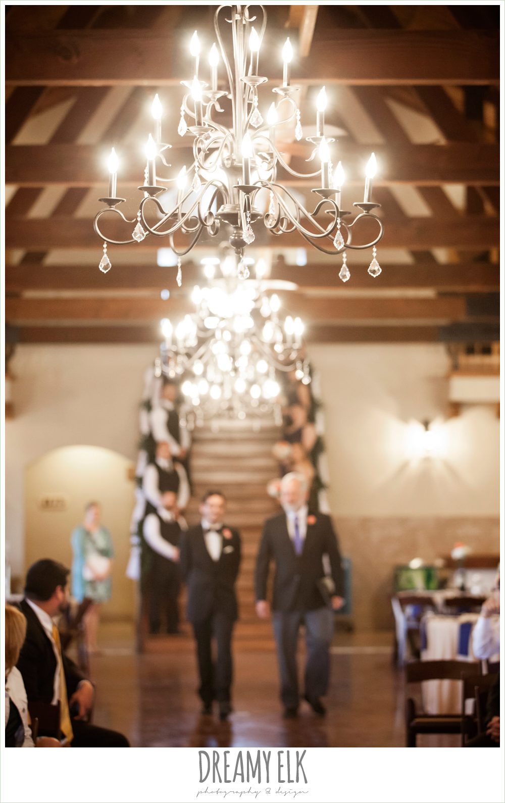 indoor wedding ceremony, chandeliers, pecan springs, houston, texas, photo {dreamy elk photography and design}