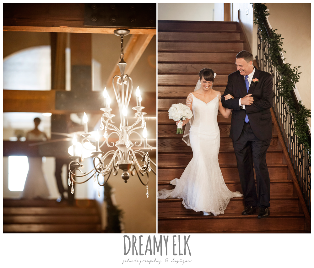 indoor wedding ceremony, chandeliers, bride and dad walking down the stairs, pecan springs, houston, texas, photo {dreamy elk photography and design}