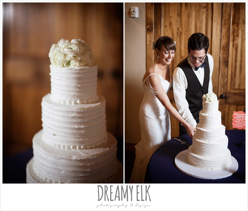 white wedding cake, bride and groom cutting cake, pecan springs, houston, texas photo {dreamy elk photography and design}